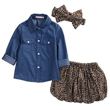 Cute Girls 3Piece Set Matching Denim Top+Leopard Skirt+Bow Outfit Set