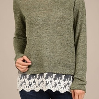 Aurora Lace Long Sleeves Top - Grey
