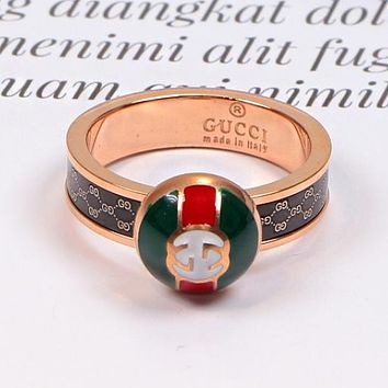 GUCCI New Fashionable Couple Delicate Titanium Steel Ring Accessories Jewelry Rose Golden