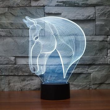 Horse Head Side View 3D LED Night Light Lamp