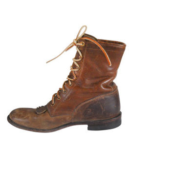 Men Brown Boot Justin Boot Men Lace Up Boot Leather Boot Brown B d55c61f7d7f4