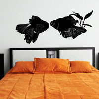 Japanese Goldfish Carp Silhouette Vinyl Wall Words Decal Sticker Graphic