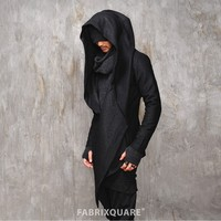 Mens Vandalique Hooded Woolen Cape Cardigan at Fabrixquare
