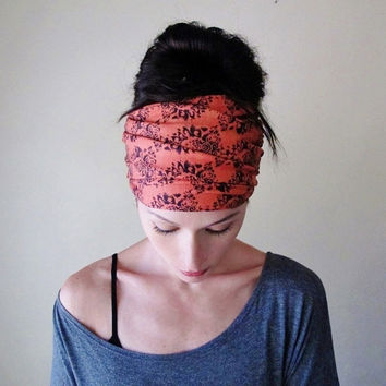 APRICOT DAMASK Head Scarf - Vintage Inspired Yoga Hair Wrap - EcoShag Bohemian Fashion Accessory