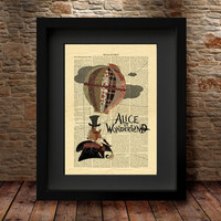 ALICE in WONDERLAND Decorations Art Print on Antique Book Pages Dictionary Page Kids Room Decor Gift Wall Art Print, Home Decor Gift-11