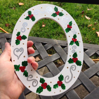 Christmas Holiday Holly Oval Frame - hand painted frame - Santa picture frame - holiday decor - christmas decor - gifts -photo gifts - wood