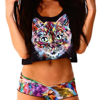 INTO THE AM Space Cat II Crop Top