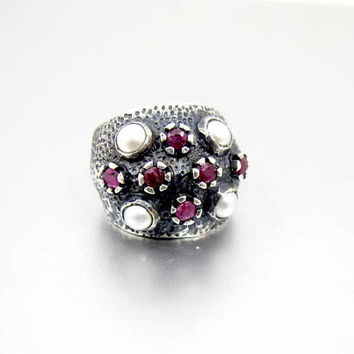 Ruby Pearl Sterling Silver Ring. Domed Oxidized Sterling Silver Ruby Pearl Ring. Statement Knuckle Ring