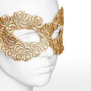 Gold Embroidery Masquerade Mask - Lace Applique Covered Venetian Style Masquerade Ball Mask