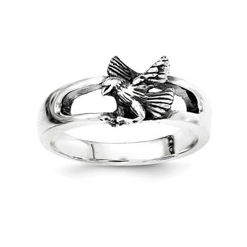 Sterling Silver Antiqued Bird Ring