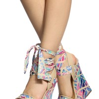 Nude Geometric Print Wrap Around Wedges @ Cicihot Wedges Shoes Store:Wedge Shoes,Wedge Boots,Wedge Heels,Wedge Sandals,Dress Shoes,Summer Shoes,Spring Shoes,Prom Shoes,Women's Wedge Shoes,Wedge Platforms Shoes,floral wedges