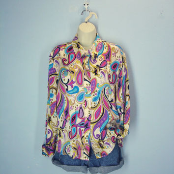 80s Vintage Silk Blouse, Paisley Silk Top, 100% Silk Blouse, 1980s Silk Shirt, XL