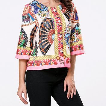 Casual Collarless Single Breasted Tribal Printed Coat