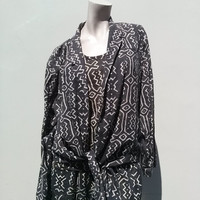 Vintage 1980s Norma Kamali Tribal Print Suit 3 Piece Medium US6 2014923K73