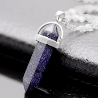 Women's Natural Stone Gem Necklace