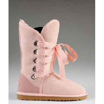 LFMON UGG 5818 Tall Lace-Up Women Fashion Casual Wool Winter Snow Boots Pink
