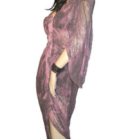 Post Apocalyptic Shredded Bleached Dyed Grey Marble Long Sleeved Dress