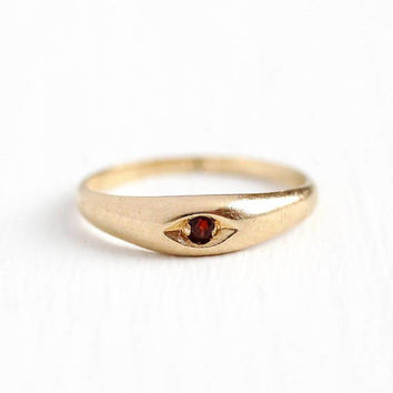Garnet Baby Ring - Vintage 14k Rosy Yellow Gold Red Gemstone Jewelry - Size 1 1/2 Antique 1930s Art Deco Fine Pinky Children's Band