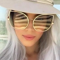 2018 New Brand Designer Oversized Clear Lens Cat Eye Sunglasses Women Large Size Sun Glasses For Ladies Fashion Eyewear Female