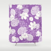 Sketchy Floral: Mauve Ivory/White Shower Curtain by Eileen Paulino