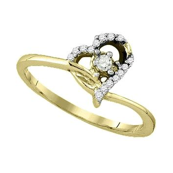 10k Gold Round Diamond Women's Heart Dainty Promise Bridal Ring - FREE Shipping (US/CA)