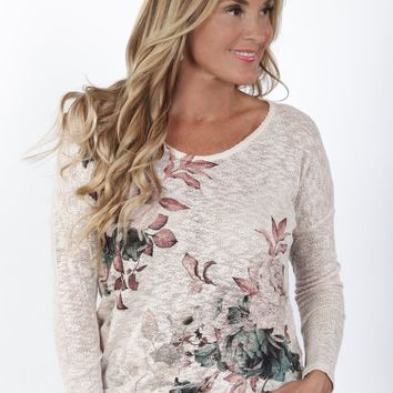 Floral Knit Long Sleeve Top