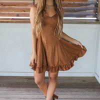 Nothing Compares Camel Suede Spaghetti Strap Fit & Flare Dress With Ruffle Hem