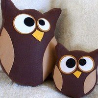 Hooter and Lil Hoot Owl Pillow Set READY TO SHIP by bedbuggs