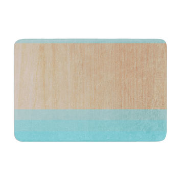 "Brittany Guarino ""Art Blue"" Aqua Wood Memory Foam Bath Mat"