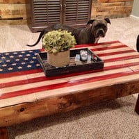 Handmade Rustic American Flag end/side table (shown as a coffee table)