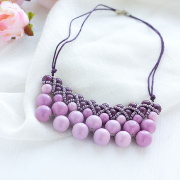 "Necklace of glass beads ""Blackberry pie"""