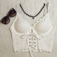Vintage Embroidery Lace Up Bandage Bralet