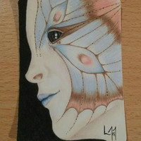 ACEO Original drawing - Butterfly Girl #2 - Coloured pencil drawing