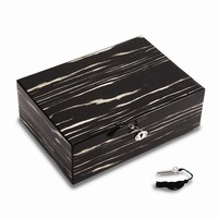 Lacquered Ebony Wood Jewelry Box W/valet Tray & Key Lock