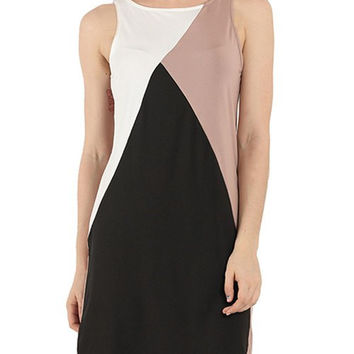 Color Block Sleeveless Shift Dress
