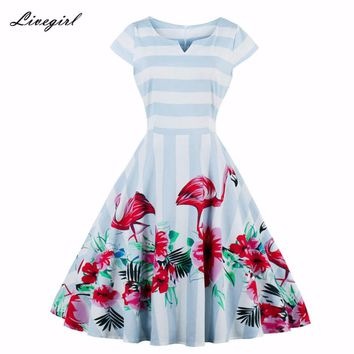 Women Dress Summer Stripe Floral Print Retro Casual Party Robe Pinup Rockabilly 50s Vintage Dresses Vestidos S-4XL Plus Size
