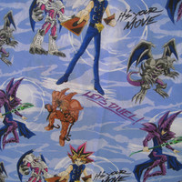 Yu-Gi-Oh! Japanese Anime Kids Bedding Flat Sheet TWIN Size 1996 Craft Fabric Used Clean