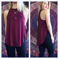 A Side Slit Tank in Burgundy