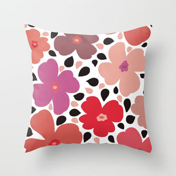 FLoral vibes Throw Pillow by vivigonzalezart