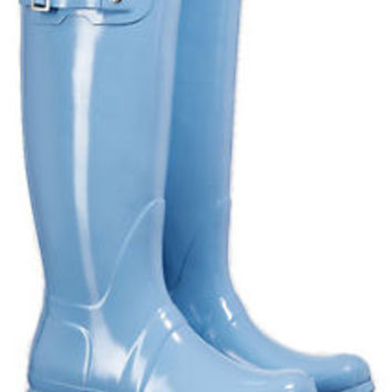 HUNTER ORIGINAL TALL GLOSS PALE BLUE WELLINGTON BOOTS Welly BRAND NEW NIB
