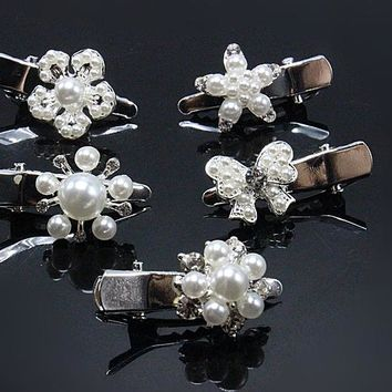 1pc Fashion Gold Hairpin Elegant Brides Hair Clips Pearl Rhinestone Hair Jewelry Wedding Butterfly Simple Accessories G111