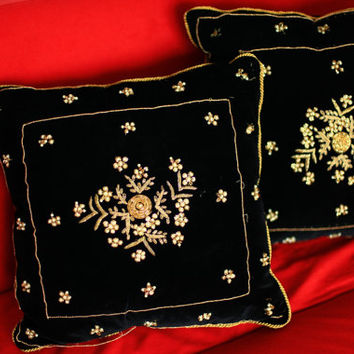 Vintage Embroidered Black Velvet and Golden Trims Gipsy Boho Luxury Royalty Decorative Pillows