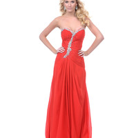 Red Rhinestone Chiffon Strapless Prom Gown - Unique Vintage - Prom dresses, retro dresses, retro swimsuits.
