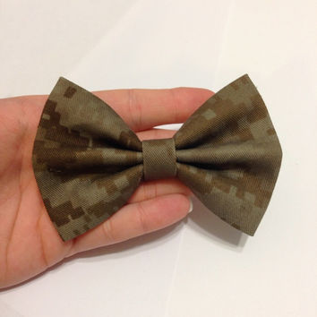 Marine Corps Desert Military Camouflage Fabric Hair Bow - CHOOSE Your Size!