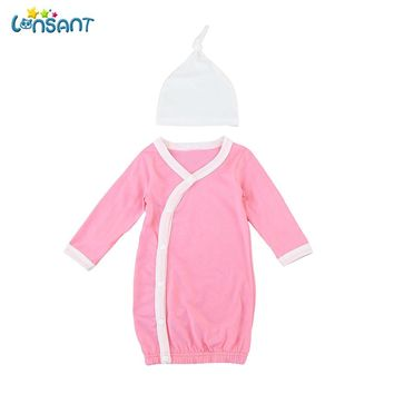 LONSANT Newborn Infant Fashion Baby Boy Girl Long Sleeve Gown Knot Hat Outfits Baby shower Clothes Set