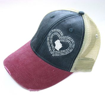 Navy and Red Distressed Snapback Trucker Hat - Love to Bike Wisconsin