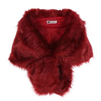 Women Faux Fox Fur Coats Jackets Bridal Wedding Faux Fur Shawl Wrap Shrug Scarf