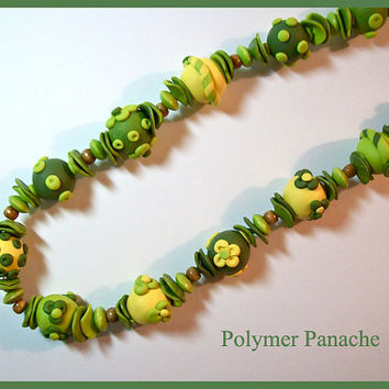 "Chunky Necklace Lime, Olive and Yellow Polymer Clay 22"" Handcrafted Beads 3 Dimensional Very Textured"