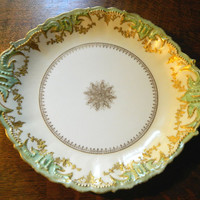 B&H Limoges France Serving or Cake Platter / Plate - Turn of the Century Green and Gold Design - Stunning