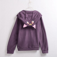 Sailor Moon Luna Artemis Cat Ears Hooded Coat